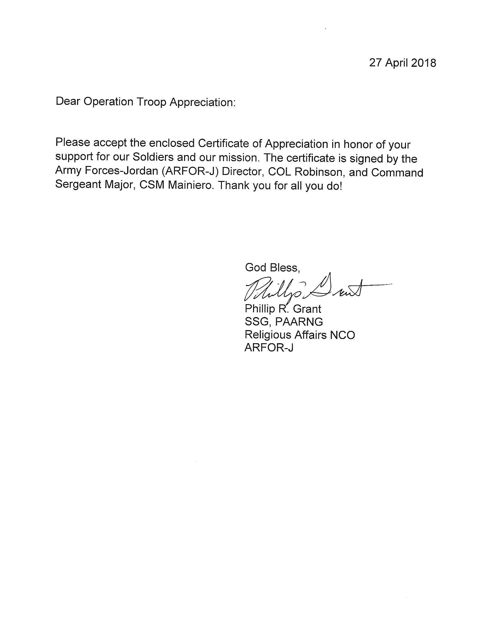 Letter Of Gratitude And Thanks from operationtroopappreciation.org